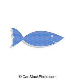 azul, illustration., ciclamino, pez, letrero de gas de neón, pol, vector., icono
