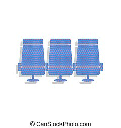 azul, illustration., letrero de gas de neón, vector., asientos, avión, ic, transporte