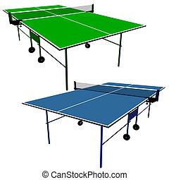 azul, illustration., ping, tennis., vector, tabla verde, pong