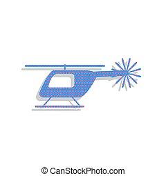 azul, illustration., sinal néon, cyclam, vector., helicóptero, ícone