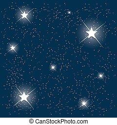 azul, illustration., sky., estrellado, space., vector