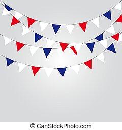 azul, illustration., vetorial, guirlandas, branca, flags., vermelho
