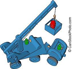 azul, ilustração, brinquedo, veículos, experiência., vetorial, construção, branca