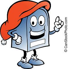 azul, ilustração, caixa postal
