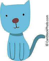azul, ilustração, doce, gato, experiência., vetorial, branca