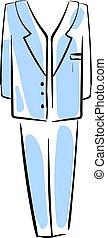 azul, ilustração, paleto, experiência., vetorial, branca, homem