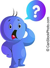 azul, ilustración, preocupado, vector, plano de fondo,...