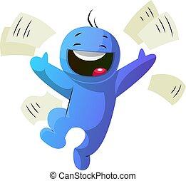 azul, ilustración, vector, tan, plano de fondo, caracter,...