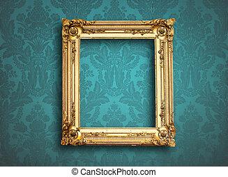 azul, imagen, vendimia, marco, papel pintado, vacío