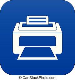 azul, impresora, laser, moderno, digital, icono