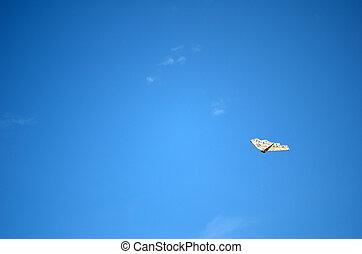 azul, impressionante, céu, papagaio