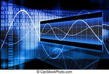 azul, incorporado, dados, diagrama
