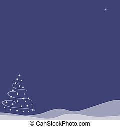 azul, indigo, colinas, -, árvore, neve, natal