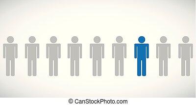 azul, individaul, pictograma, uma pessoa, outro, entre