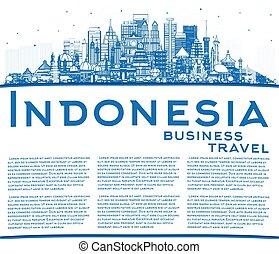 azul, indonesia, ciudades, contorno, copia, contorno, space...