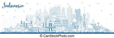 azul, indonesia, ciudades, contorno, edificios., contorno