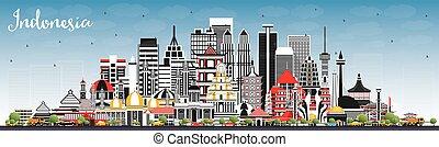 azul, indonesia, ciudades, contorno, gris, sky., edificios