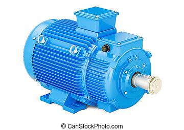 azul, industrial, elétrico, fazendo, motor, 3d