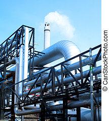 azul, industrial, natural, fundo, oleodutos, smokestack