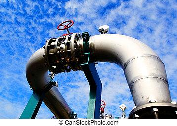 azul, industrial, oleodutos, céu, contra, pipe-bridge