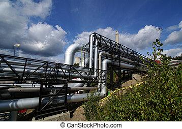 azul, industrial, tuberías, cielo, contra, pipe-bridge