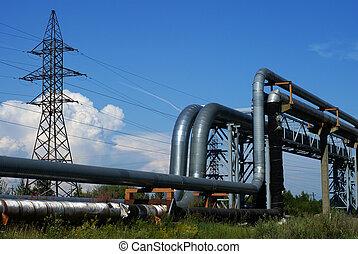 azul, industrial, tuberías, energía eléctrica, líneas, cielo...