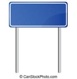 azul, informação, em branco, sinal estrada