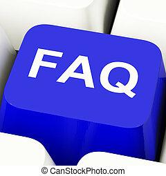 azul, informação, mostrando, faq, respostas, tecla...