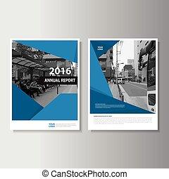 azul, informe, anual, plantilla