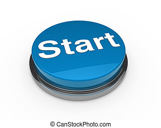 azul, inicio botón, 3d