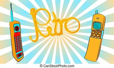 azul, inscrição, jogo, antigas, antena, ouro, contra, telefones móveis, botão, beams., dois, amarela, sliders, quadrado, hipster, longo, fundo, vindima, primeiro, retro