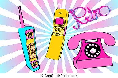 azul, inscrição, jogo, antigas, contra, roxo, telefones, botão, telefone, amarela, móvel, quadrado, hipster, retro, fundo, vindima, wired, disco, rays.