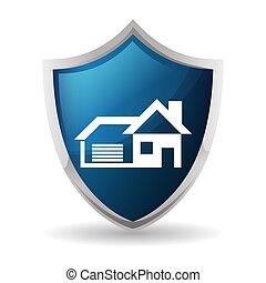 azul, insignia, escudo, proteção, segurança lar