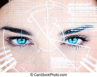 azul, interface, mulher, eyed