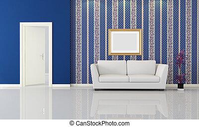 azul, interior, branca