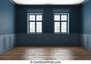azul, interior, clássicas