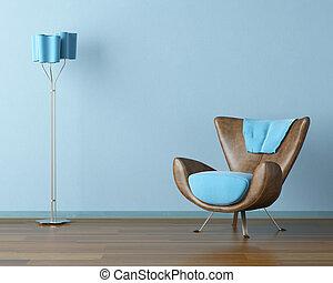 azul, interior, com, sofá, e, lâmpada