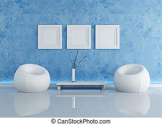 azul, interior, contemporáneo
