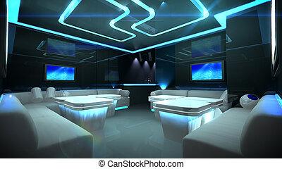 azul, interior, cyber, habitación