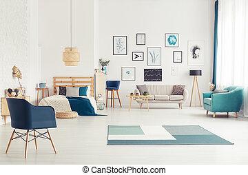 azul, interior, espaço aberto
