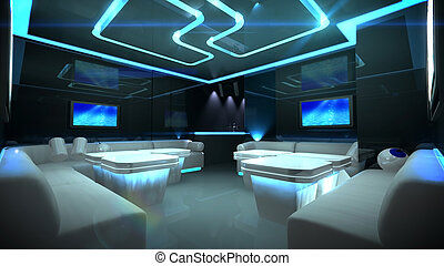 azul, interior, habitación, cyber