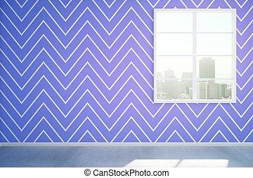 azul, interior, sala