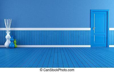 azul, interior, vazio