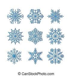 azul, inverno, jogo, silueta, isolado, fundo, snowflake, branca, ícone, vetorial, ilustração