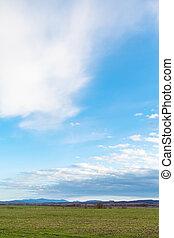 azul, inverno, primavera, sobre, céu, campos, agrário