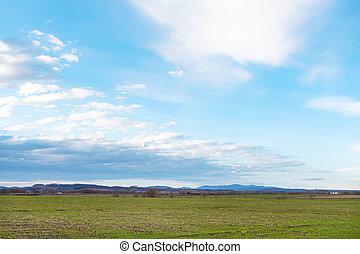 azul, inverno, primavera, sobre, céu, campos, agrícola
