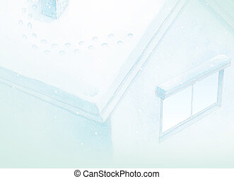 azul, invierno, casa, cuento, plano de fondo, hada, pintura