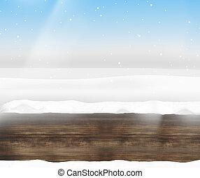 azul, invierno de madera, cielo, diseño, plano de fondo, limpio, paisaje