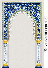 azul, islámico, diseño, arco, clásico