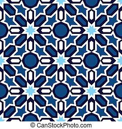 azul, islámico, ornamentos